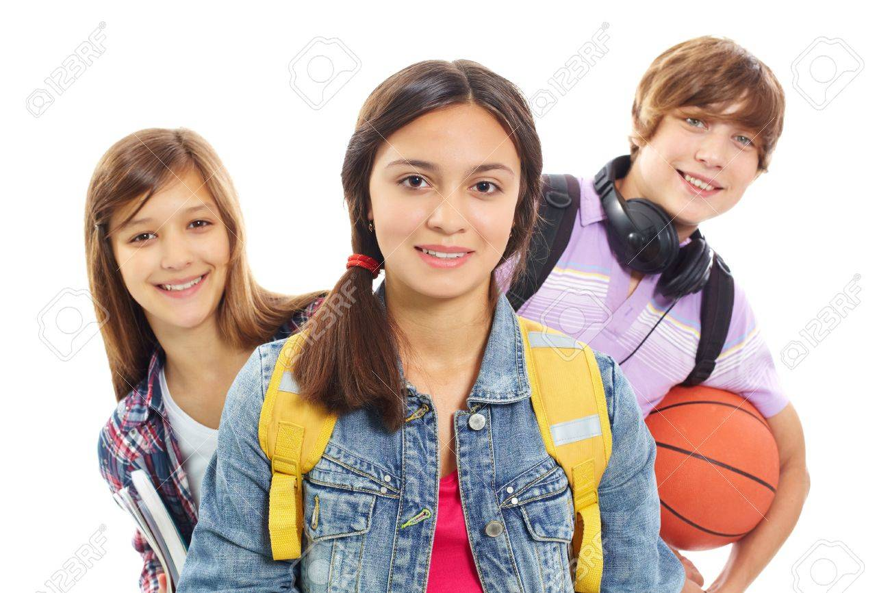 Cute girl smiling at camera with her friends behind Stock Photo - 10175332
