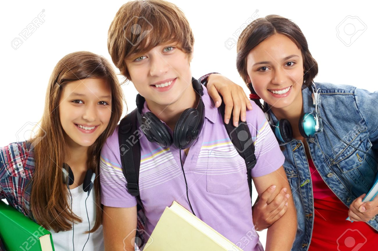 Cute Teens cute teens with headphones smiling at camera stock photo, picture