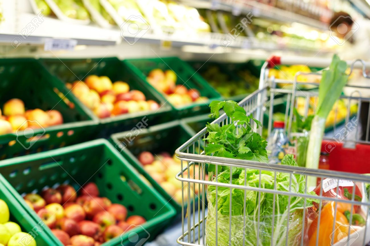 Image of fresh vegetables in cart in supermarket Stock Photo - 10774340