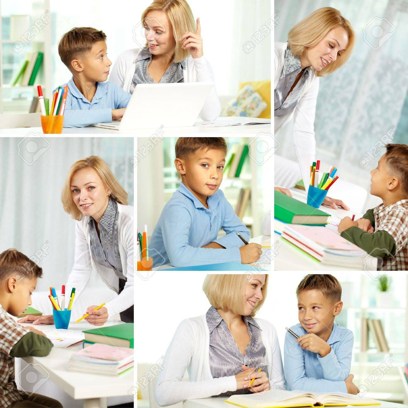 Collage of pretty tutor and diligent pupil doing schoolwork at home Stock Photo - 10982435