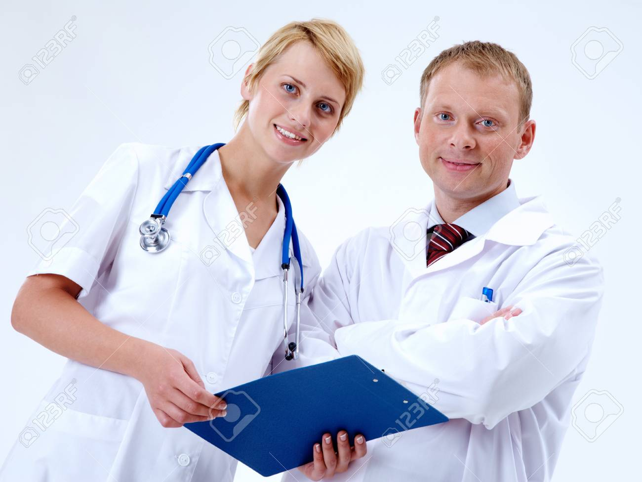 Portrait of friendly therapists looking at camera with smiles Stock Photo - 11236290