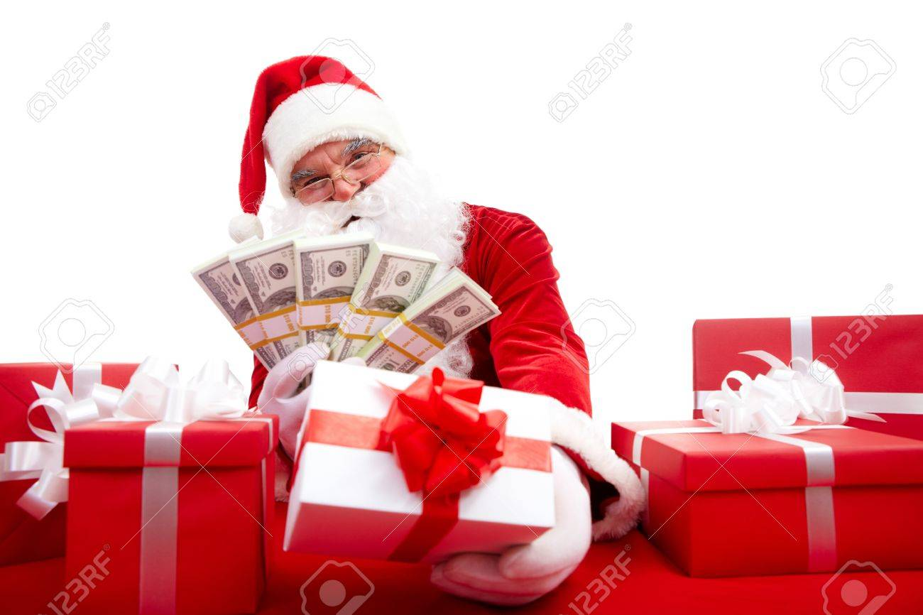 photo of happy santa claus selling christmas gifts and looking at camera stock photo 11426028 - Santa Claus Gifts