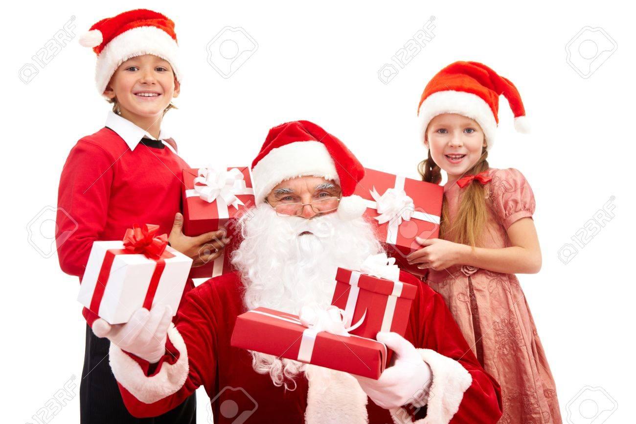 image of santa and happy kids holding christmas gifts stock photo 11432202 - Santa And Kids