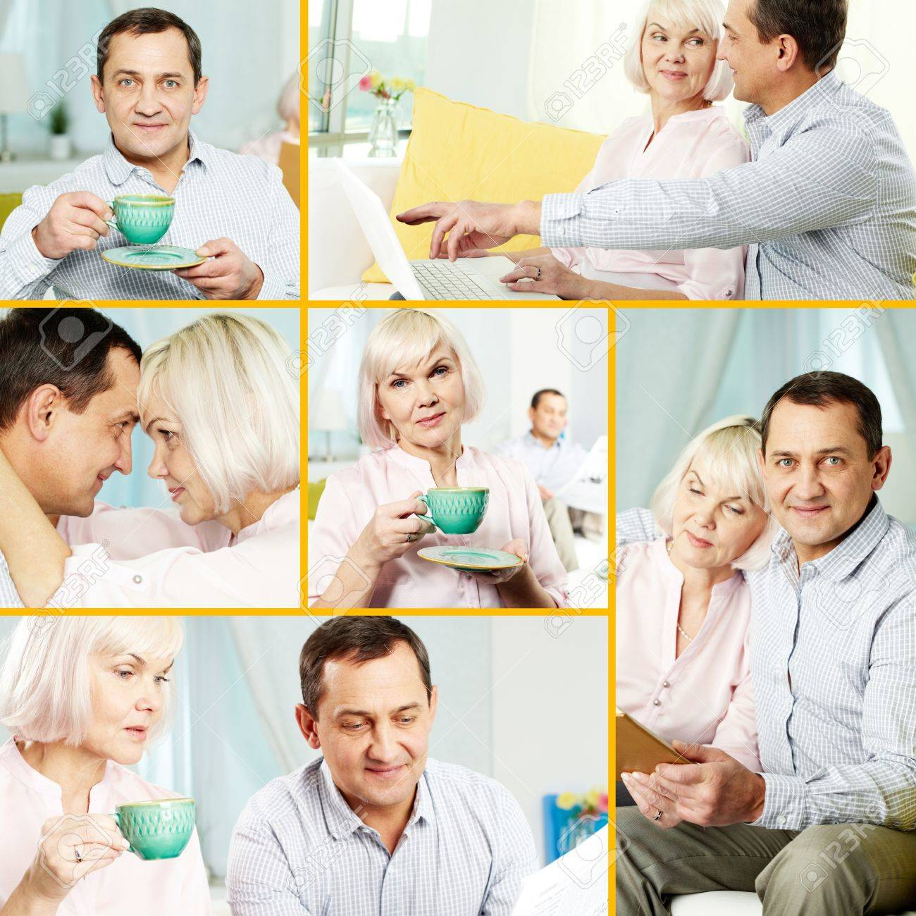 Collage of mature man and his wife spending time at home Stock Photo - 11989534
