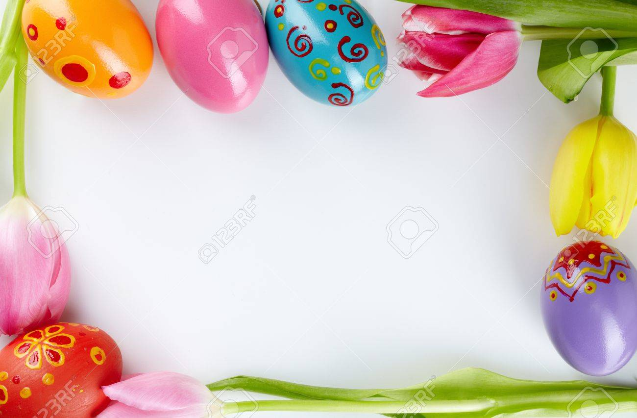 Image of decorative frame made up of Easter eggs and tulips Stock Photo - 12326483