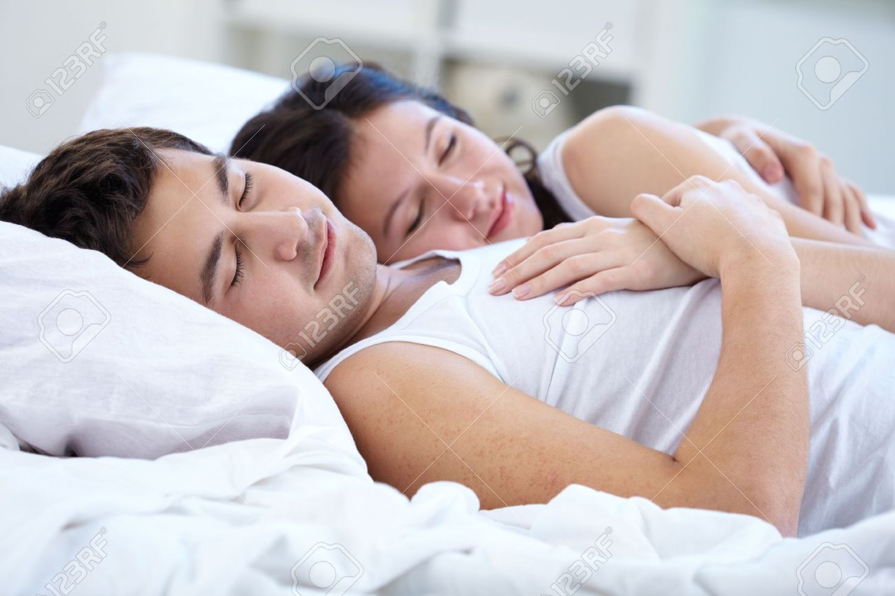 Lovely Couple In Bed Lying In Bedroom Sleeping Couple Images Stock Pictures Royalty Free Sleeping