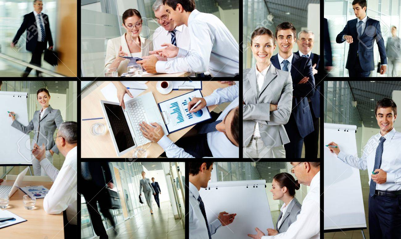 Collage of business partners working in office Stock Photo - 12872987