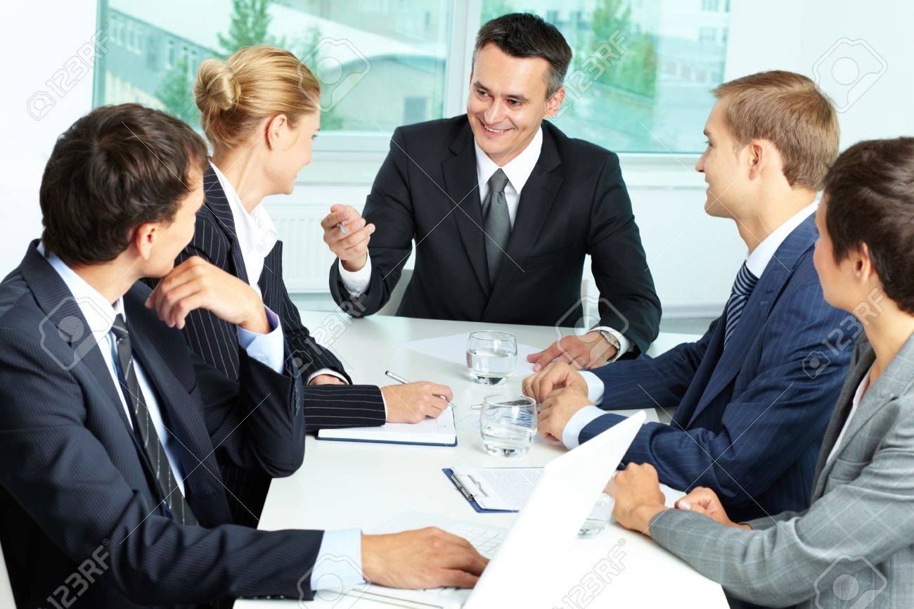 Image of confident boss voicing his ideas at meeting Stock Photo - 12873041