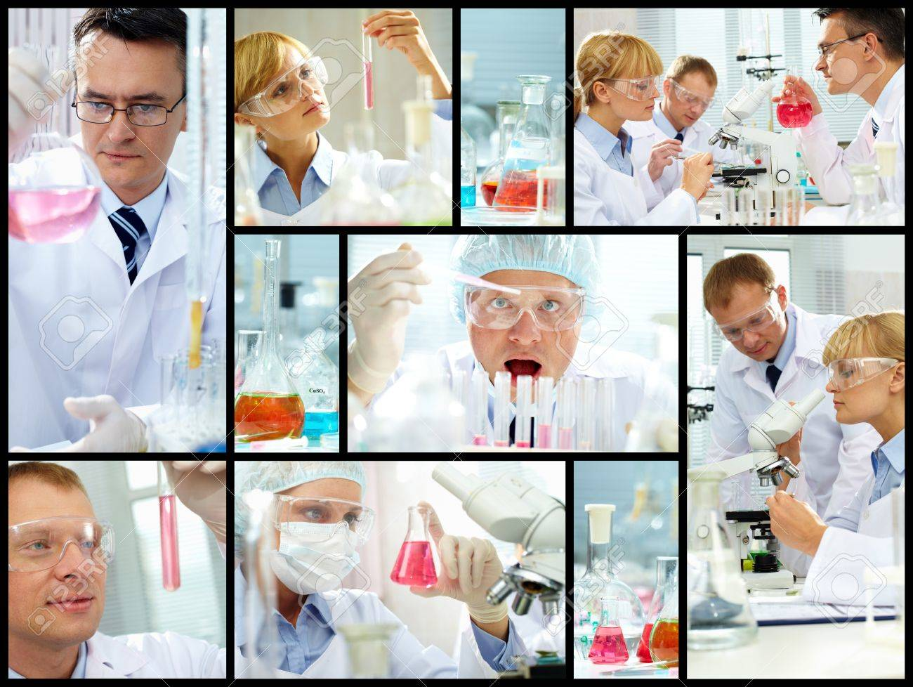 Collage of clinicians studying new substance in laboratory Stock Photo - 13037592