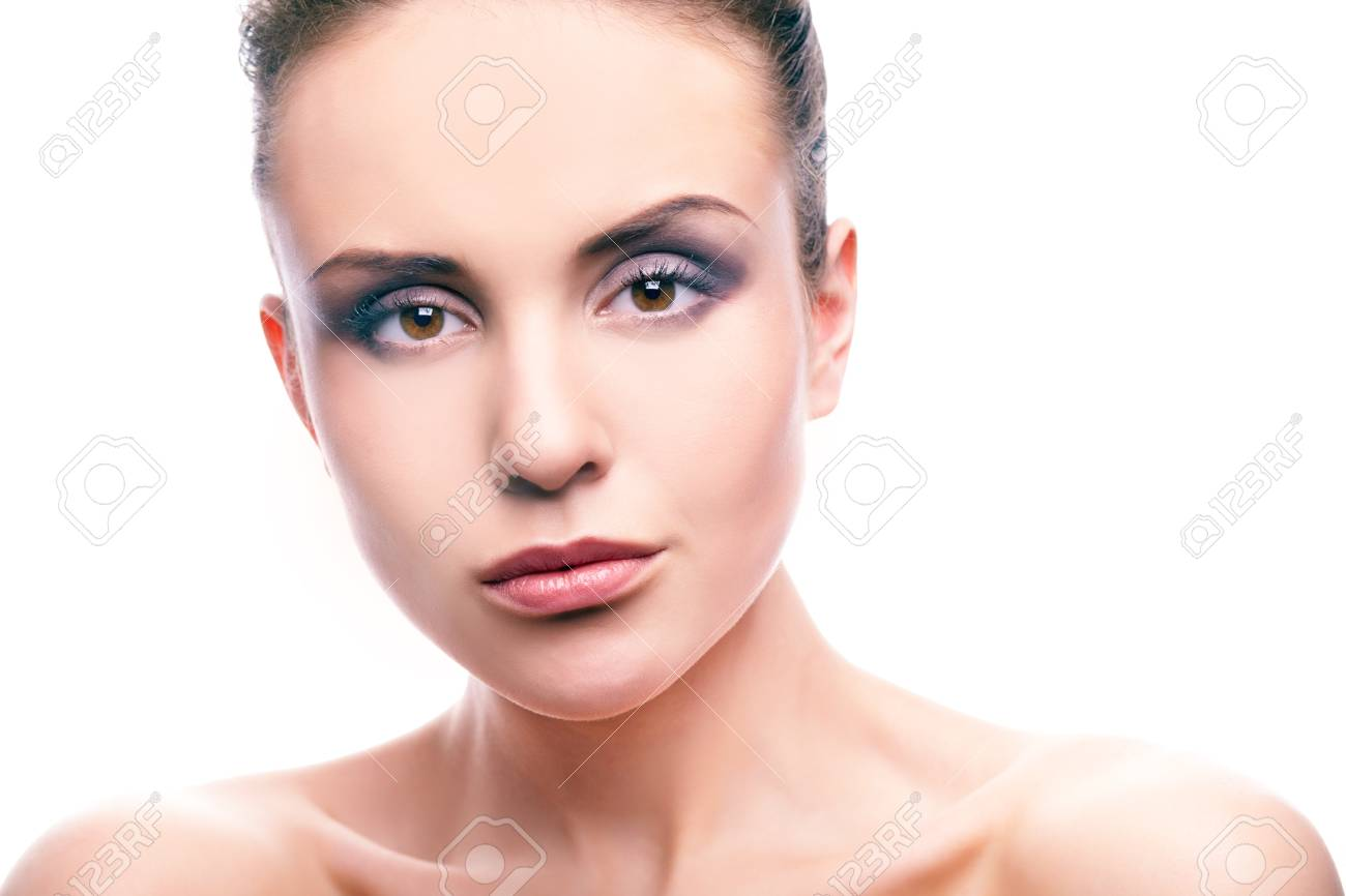Image of gorgeous woman with perfect makeup looking at camera on white background Stock Photo - 13036551
