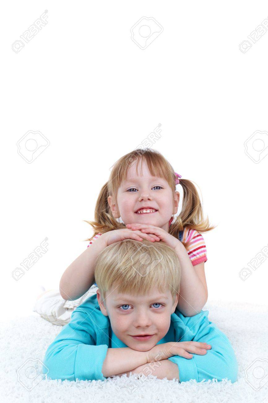 Family portrait, cheerful brother and sister playing together Stock Photo - 13036019