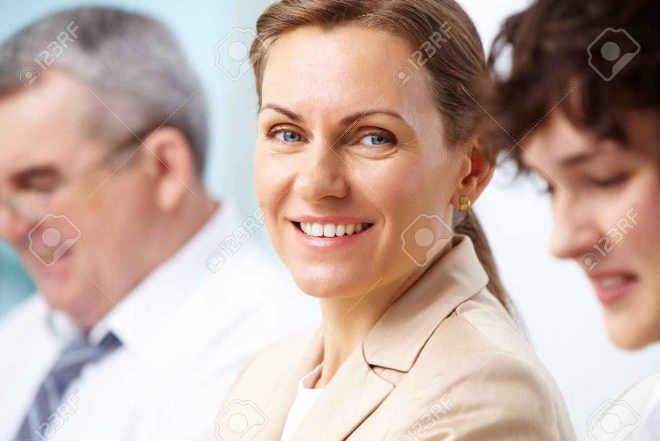 Smiling business woman looking directly at camera Stock Photo - 13037775