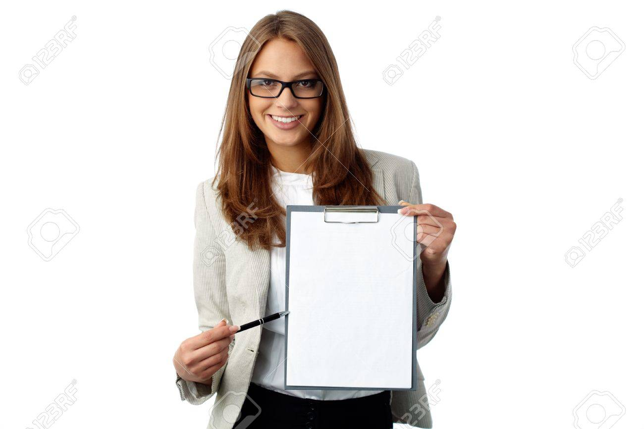 Business Woman Holding A Blank Document Pointing Where To Put – Blank Document Free