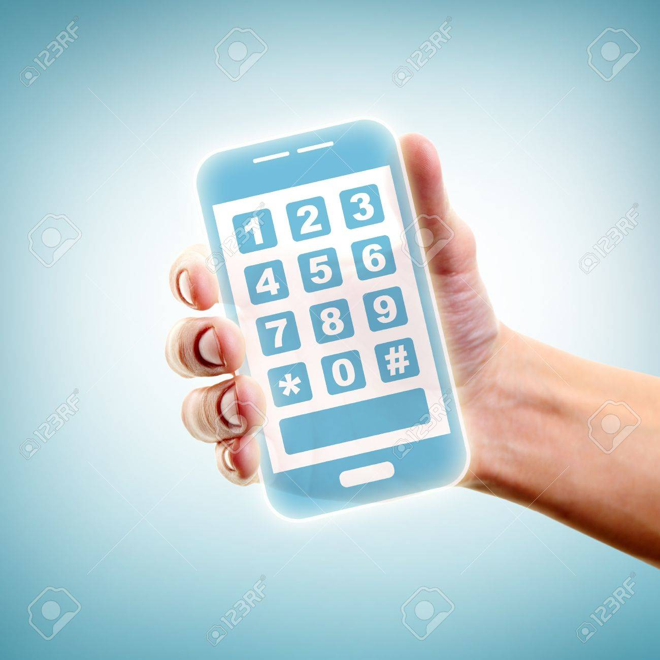Human hand holding and showing smartphone Stock Photo - 13949129