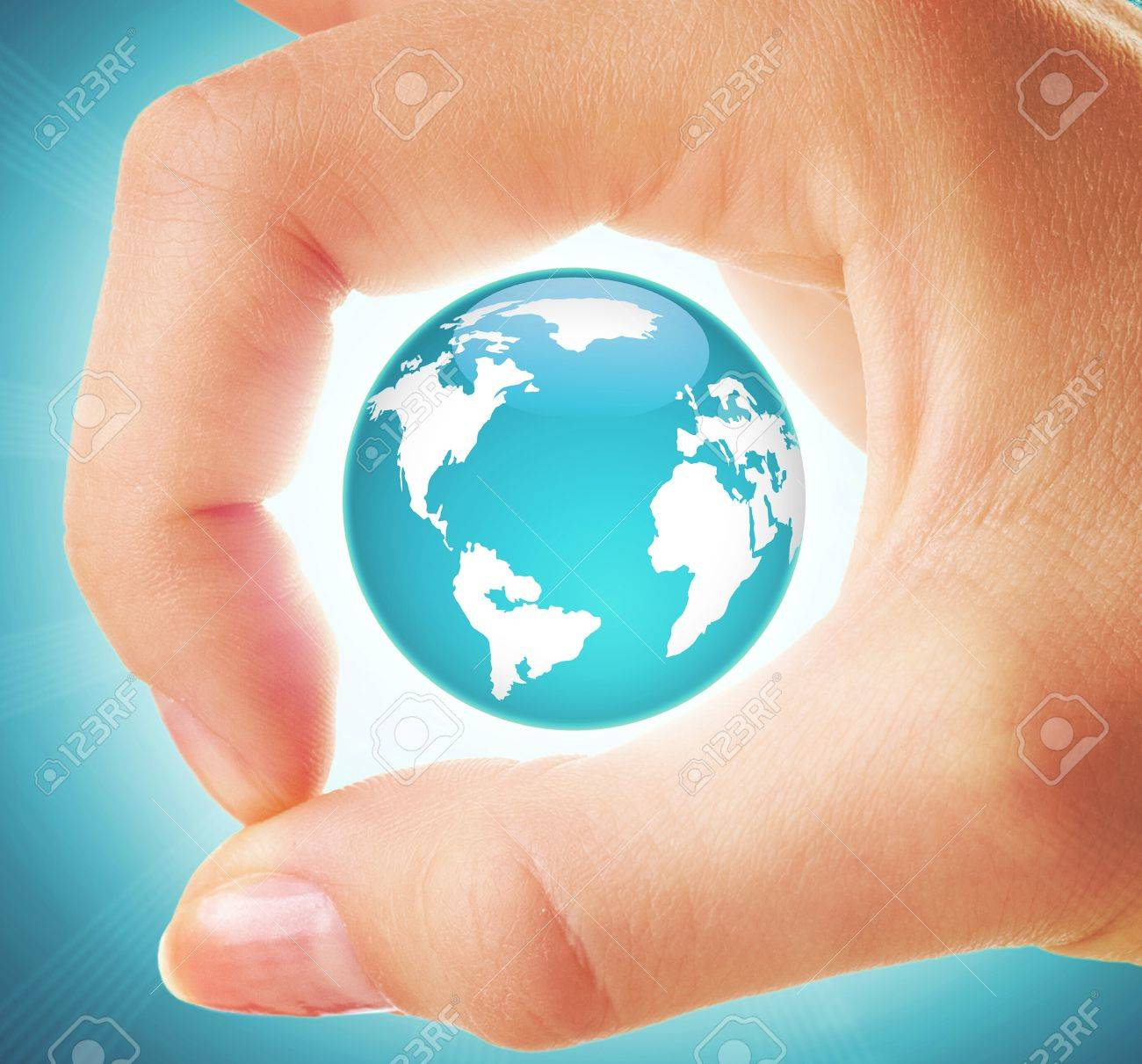 Creative image of earth model inside circle made up of human thumb and forefinger Stock Photo - 13949065