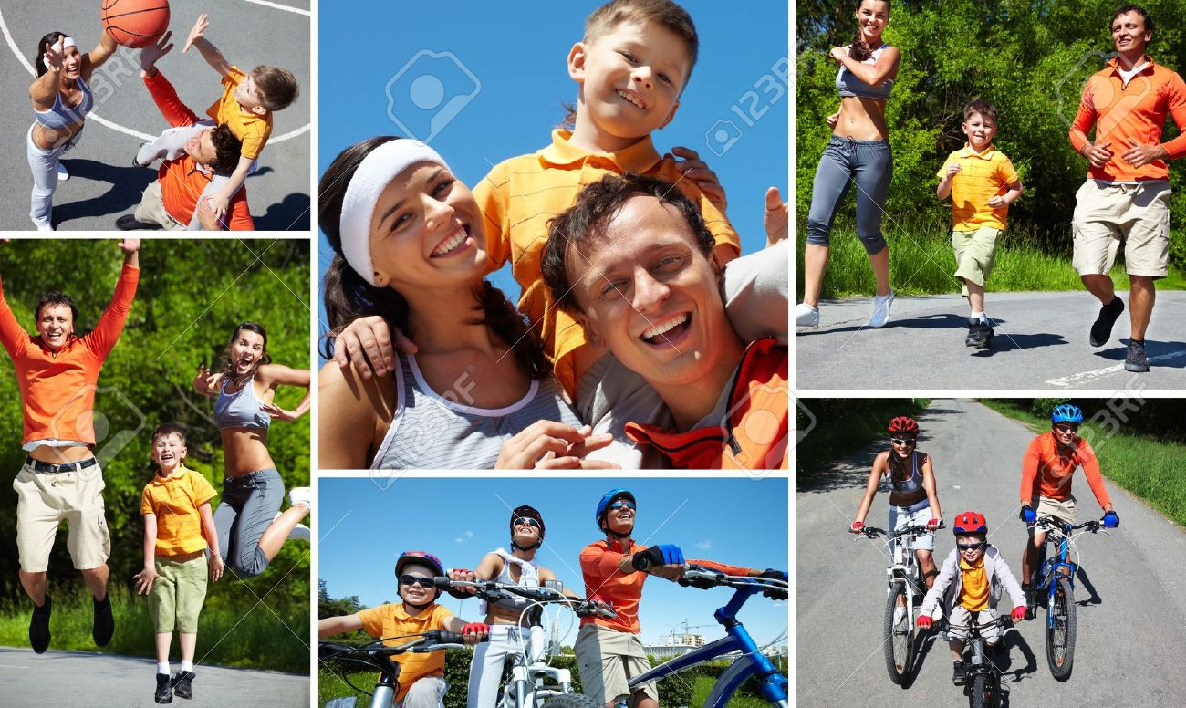 Collage of sporty family having active leisure Stock Photo - 14730853