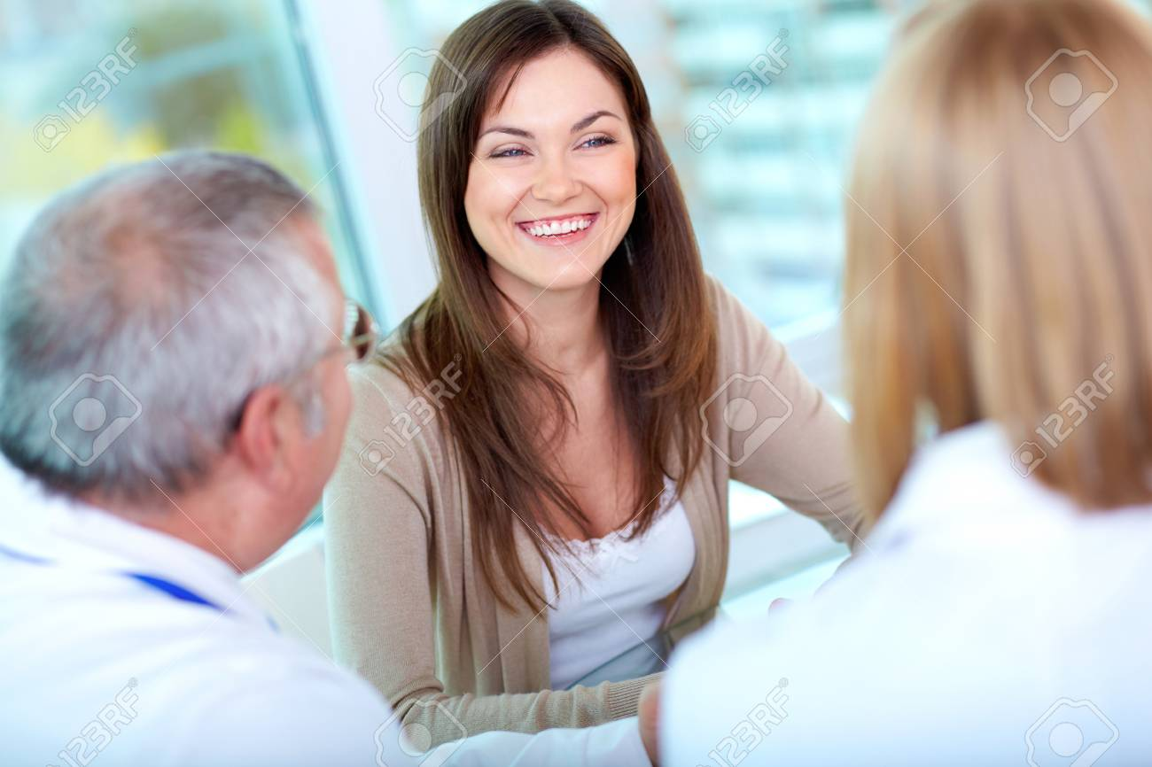 Portrait of female patient at consultation in hospital Stock Photo - 17340400