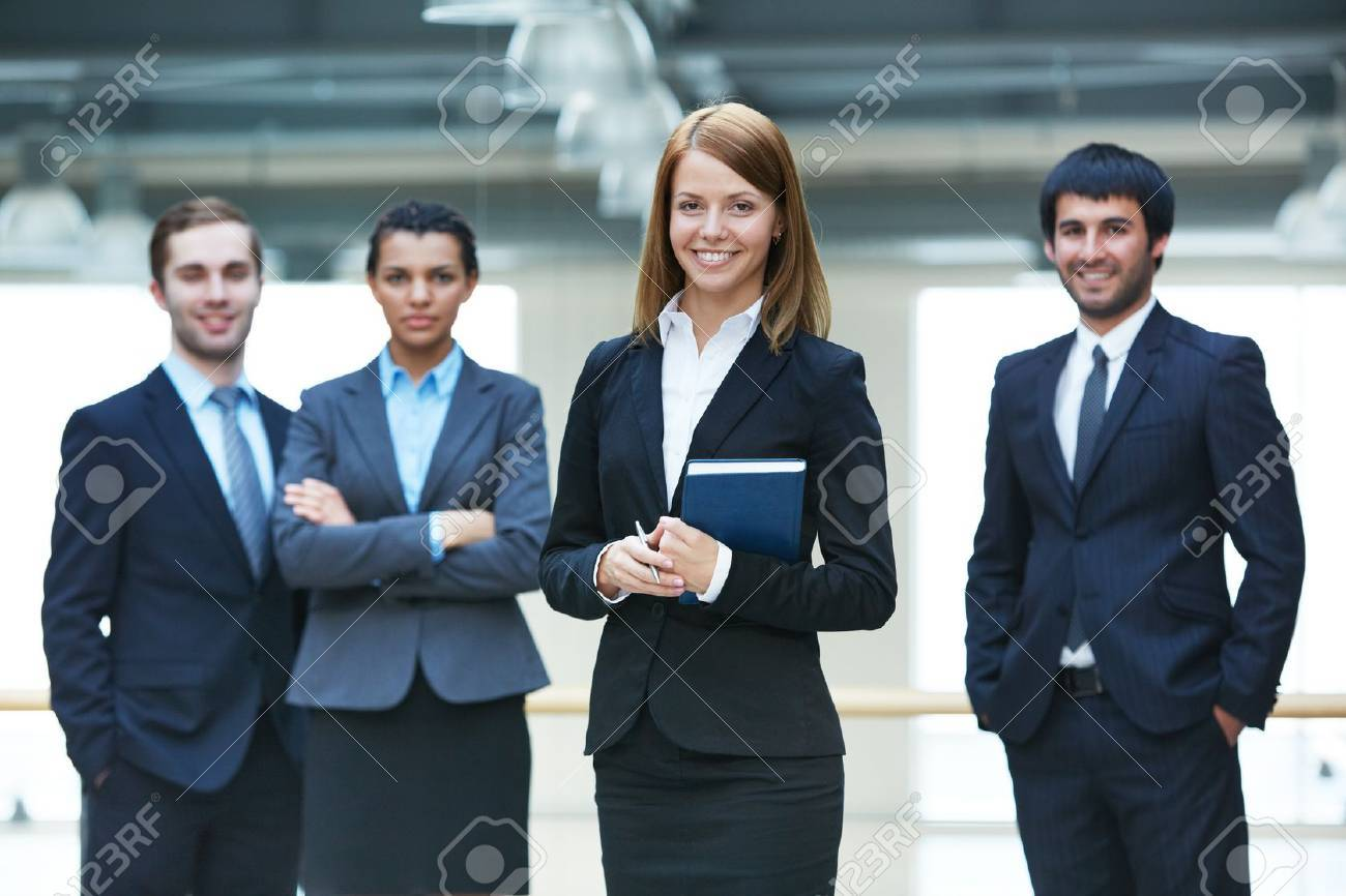 Group of smart businesspeople with happy female leader in front Stock Photo - 19170134