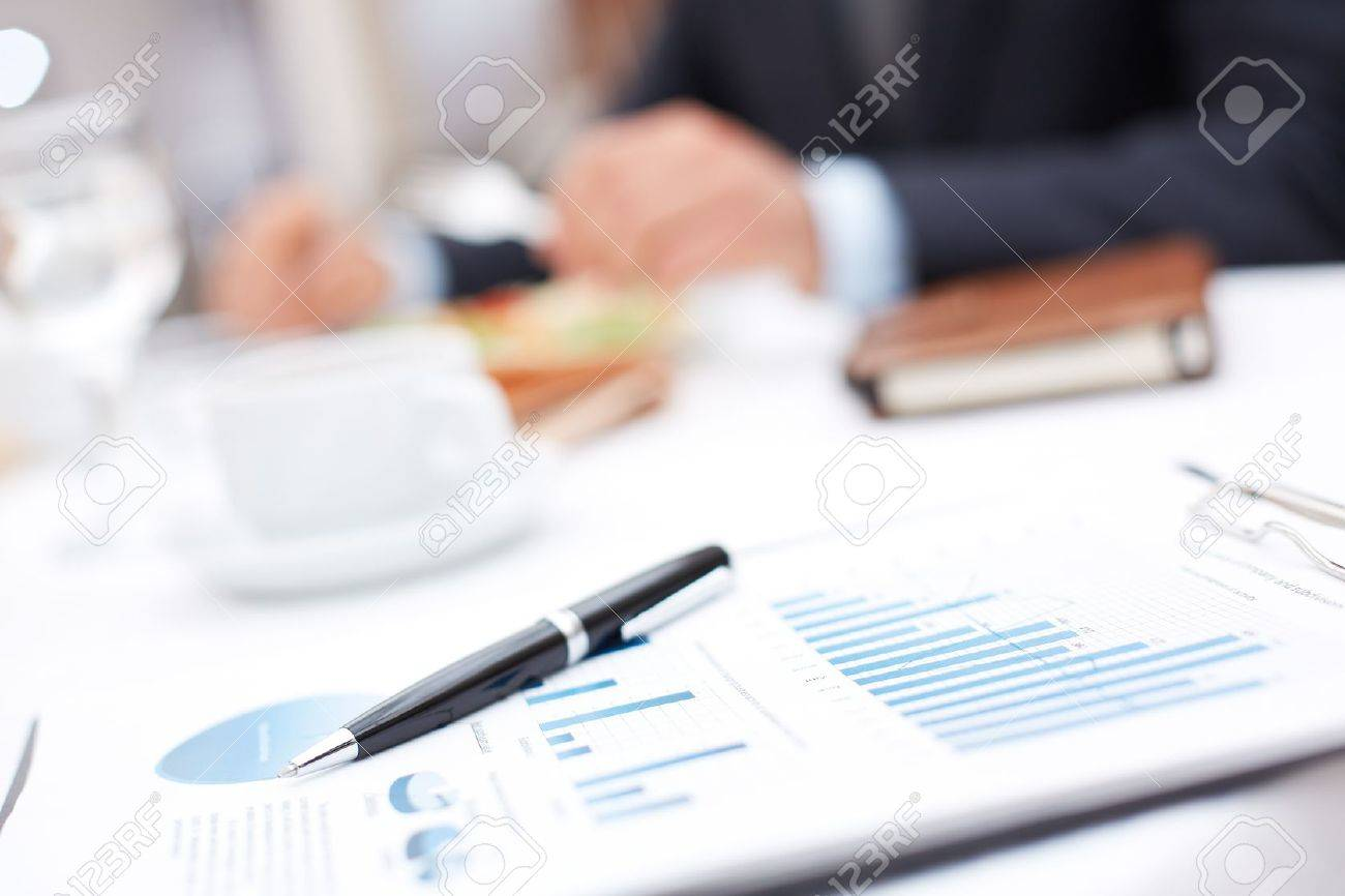 Image of an office workplace with paper and pen Stock Photo - 20087979