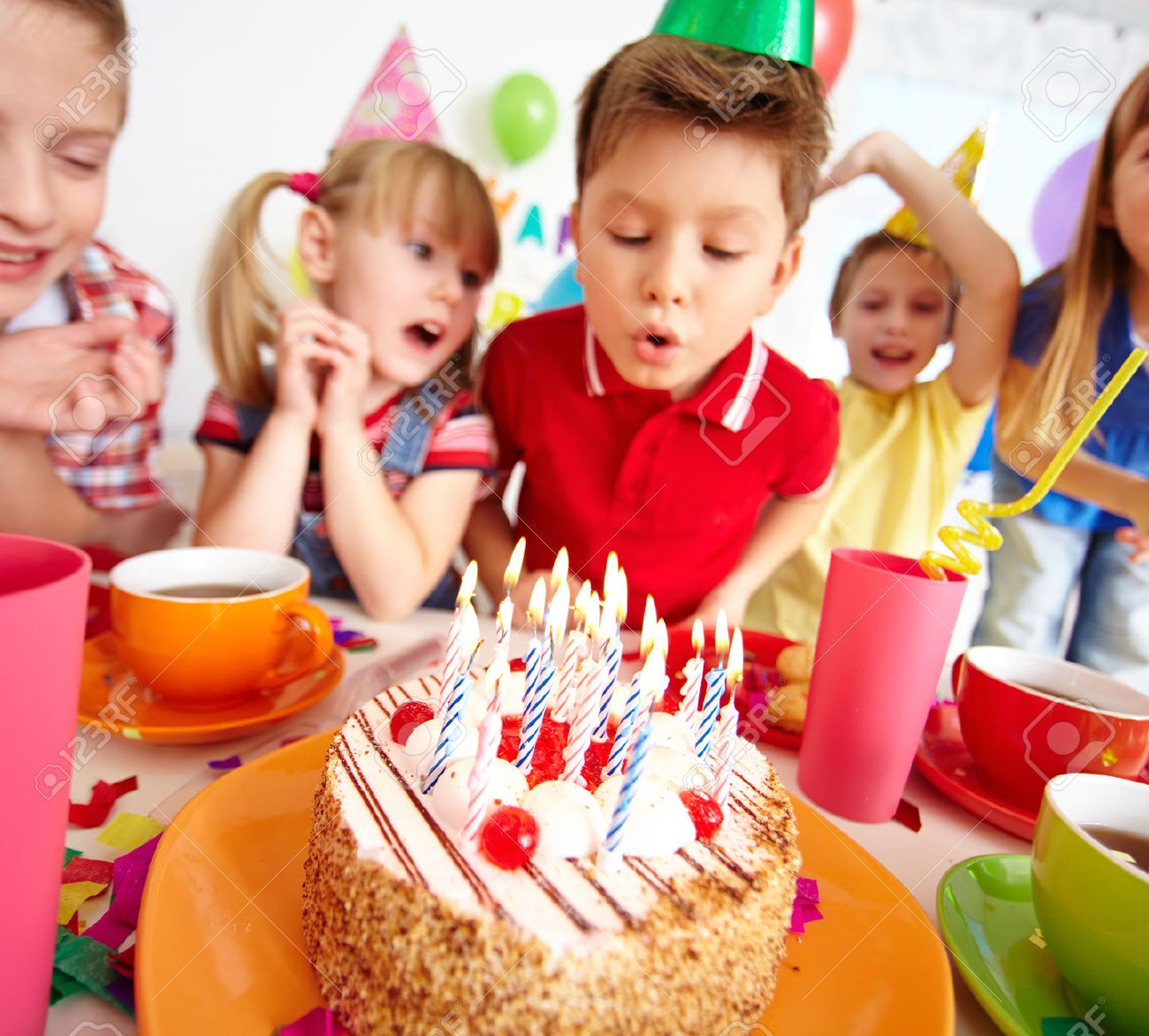 Prime Group Of Adorable Kids Looking At Birthday Cake With Candles Personalised Birthday Cards Akebfashionlily Jamesorg