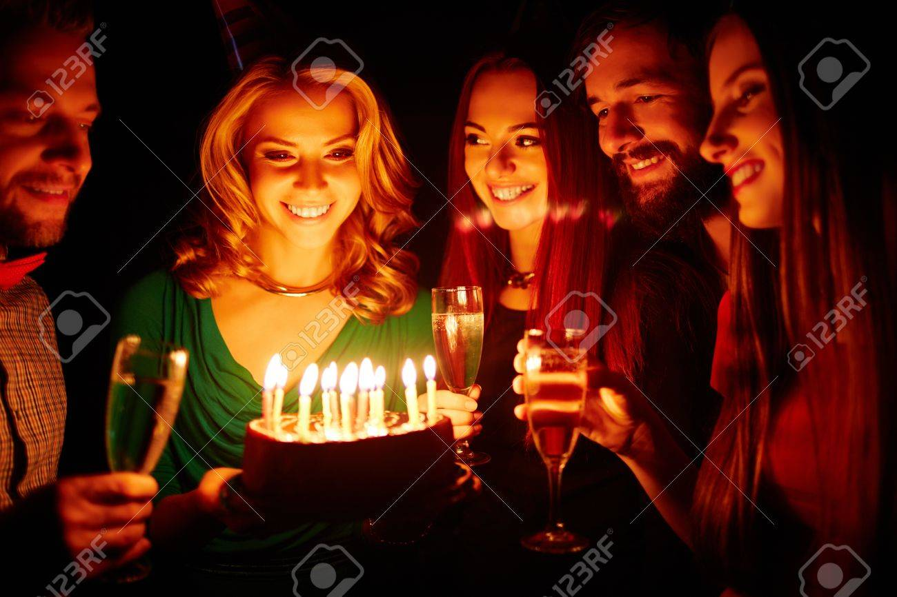 Pretty Girl Holding Birthday Cake With Burning Candles Her Friends Champagne Surrounding Stock