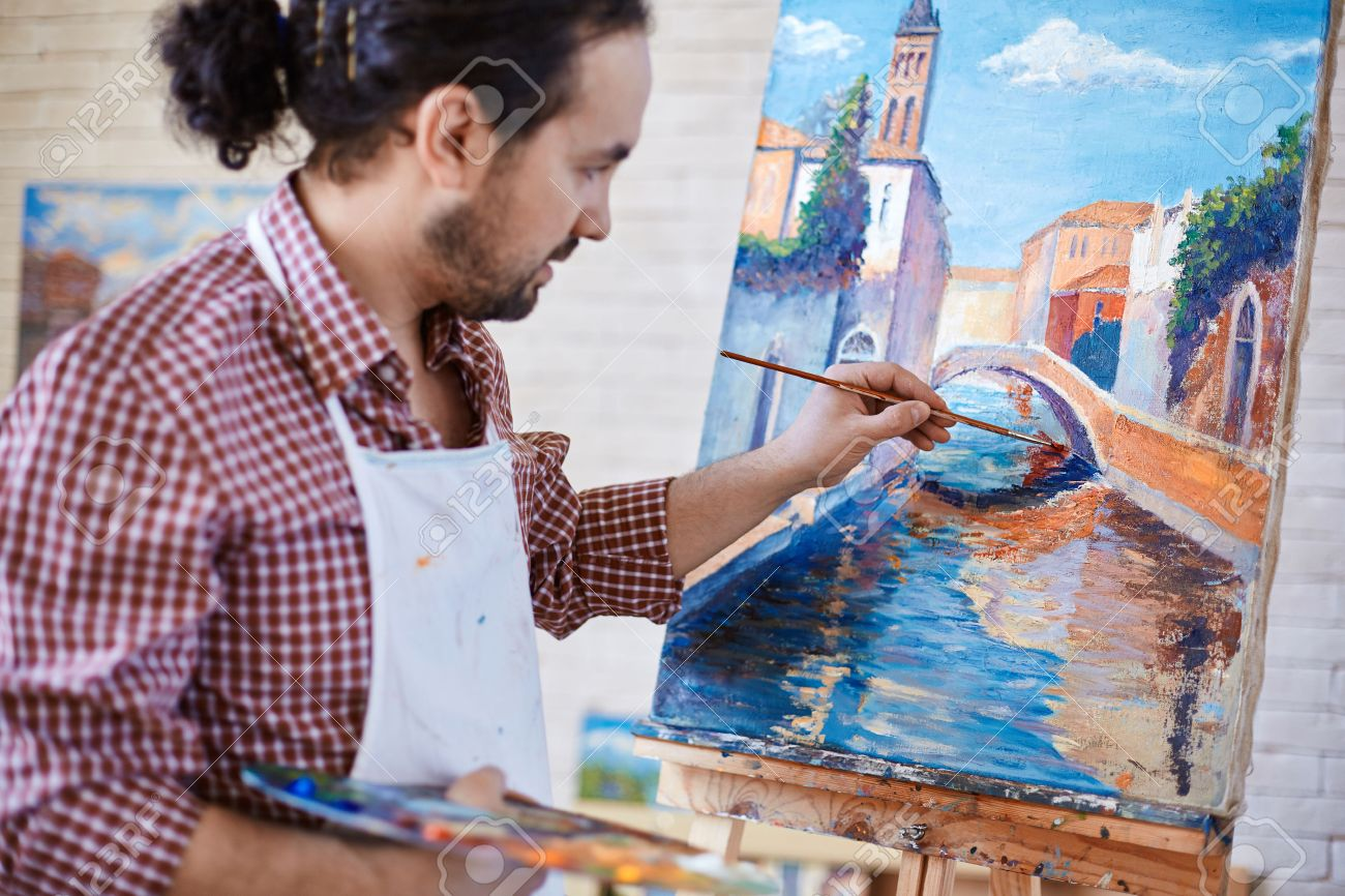 Young Artist Painting Italian Landmark In Studio Banco De Imagens Royalty Free Ilustracoes Imagens E Banco De Imagens Image 39635413