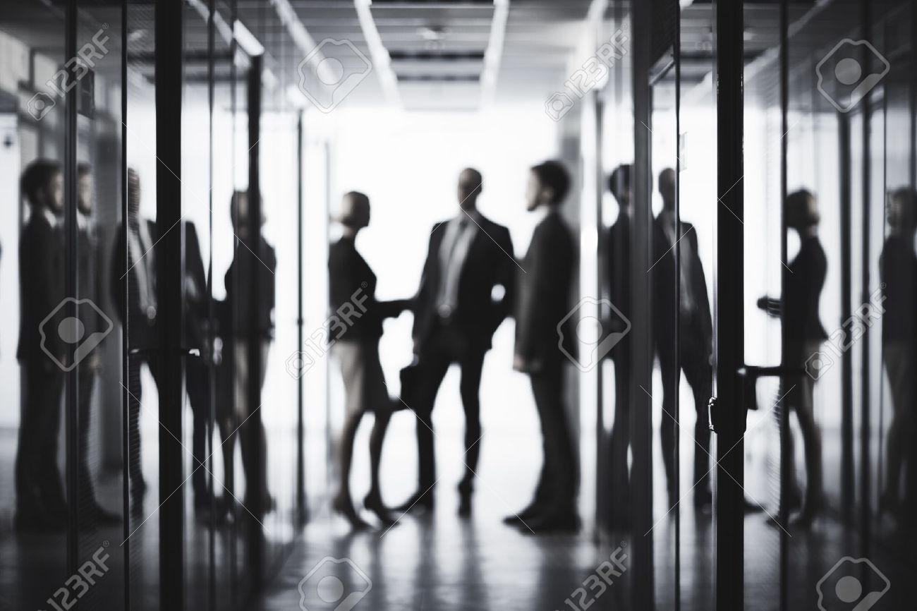 Black and white image of business people at office Stock Photo - 48852996