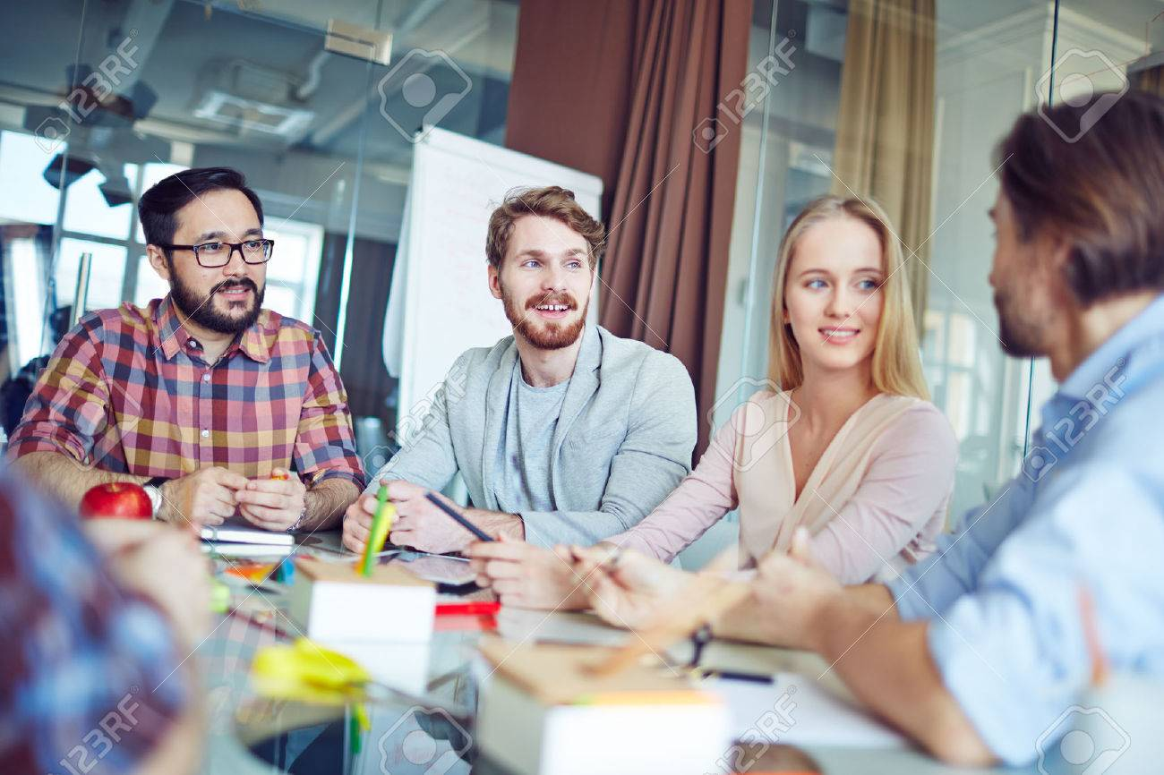 Group of business people having a meeting at office Stock Photo - 54274767