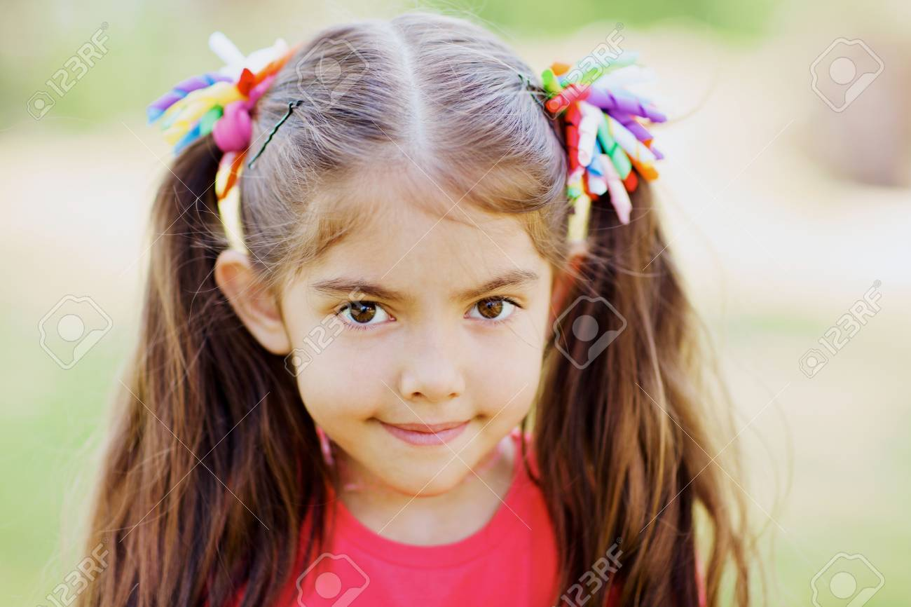 Awesome Portrait Of Cute Little Girl With Two Ponytails Outdoors Stock Schematic Wiring Diagrams Phreekkolirunnerswayorg