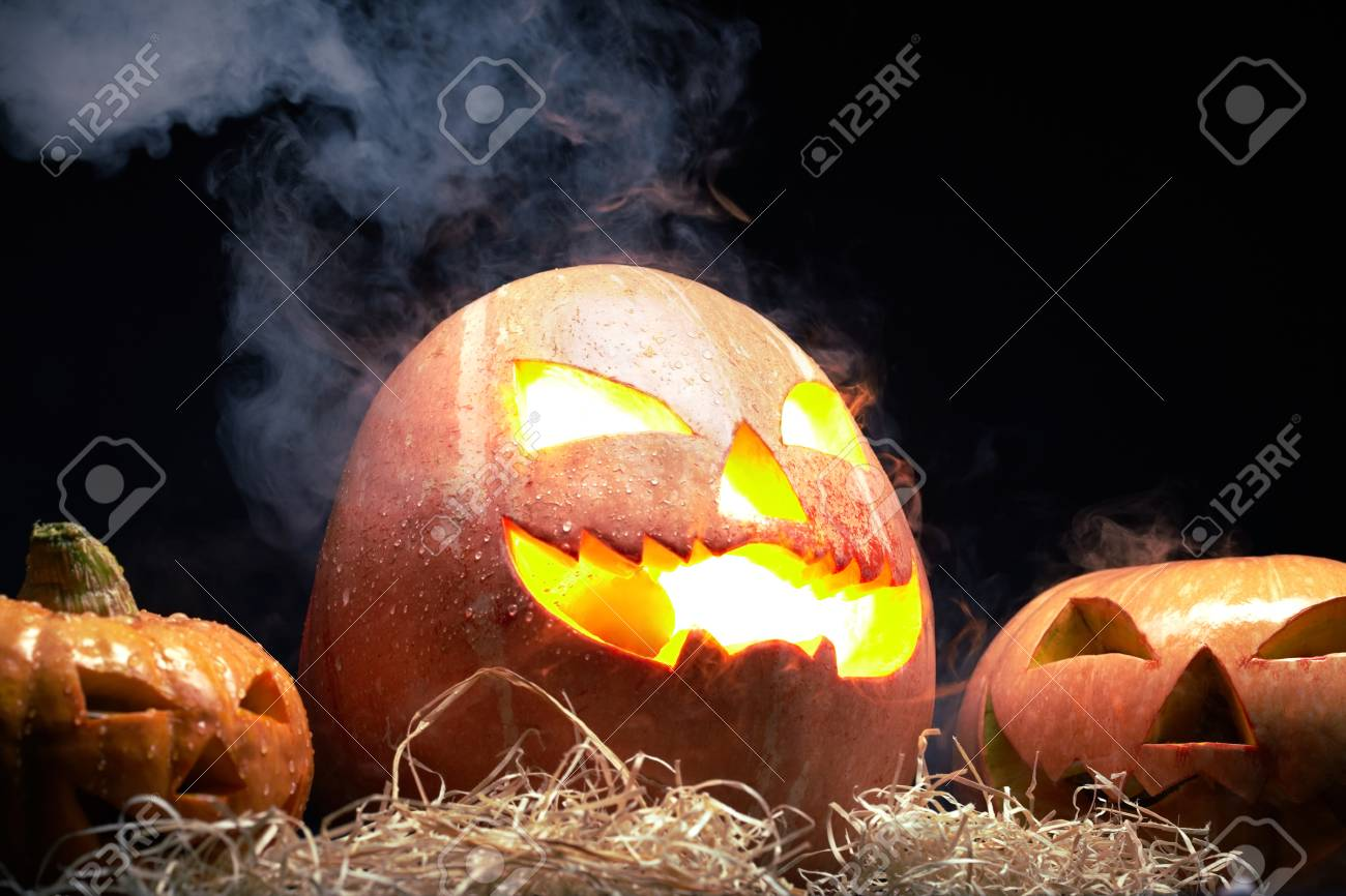 Shining Jack Lantern On Straw Stock Photo, Picture And Royalty ... for Straw Lantern  288gtk