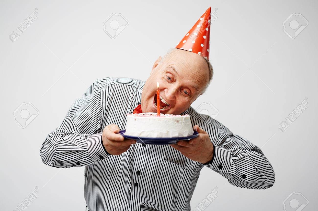 Strange Mature Man Eating Birthday Cake Stock Photo Picture And Royalty Funny Birthday Cards Online Inifofree Goldxyz