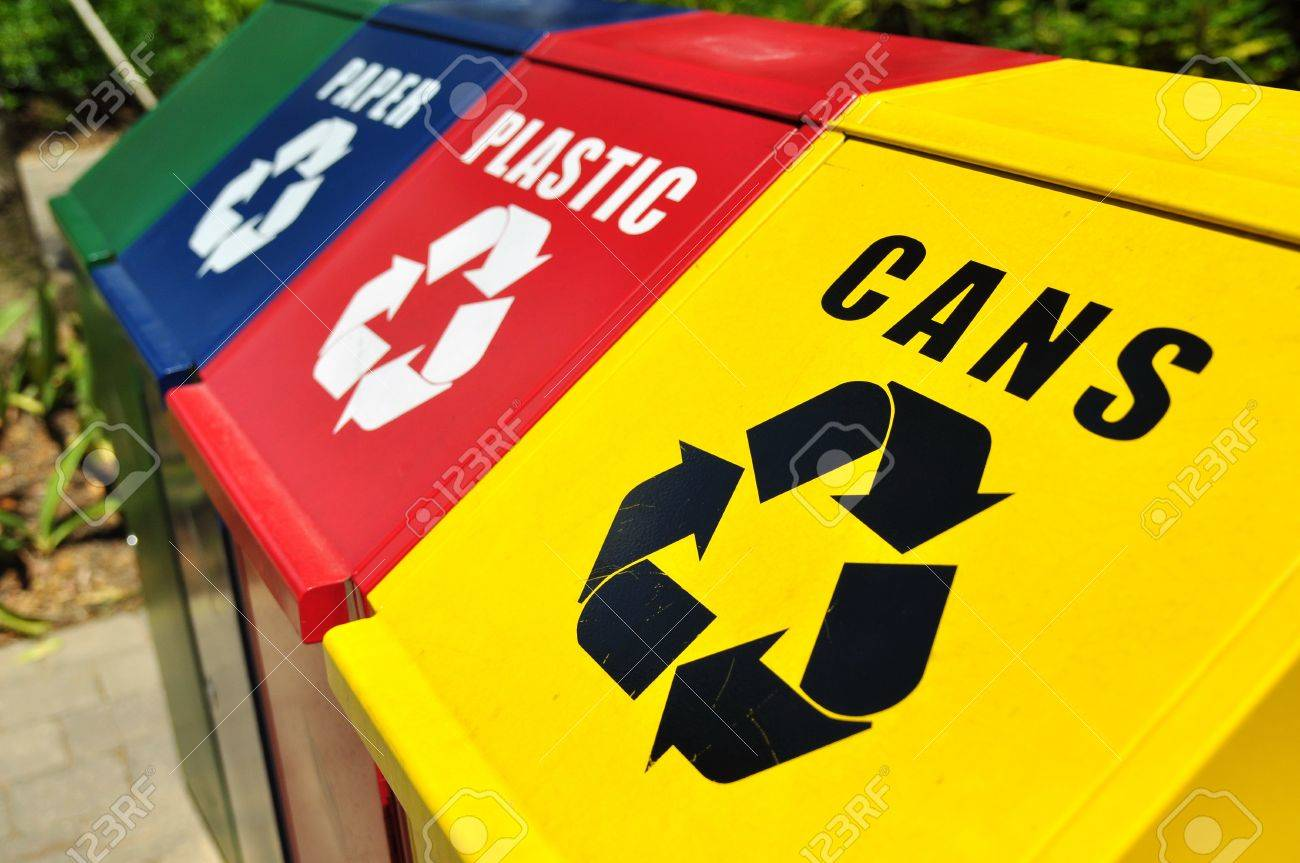 Recycling bins for cans, plastic and paper waste Stock Photo - 13004972