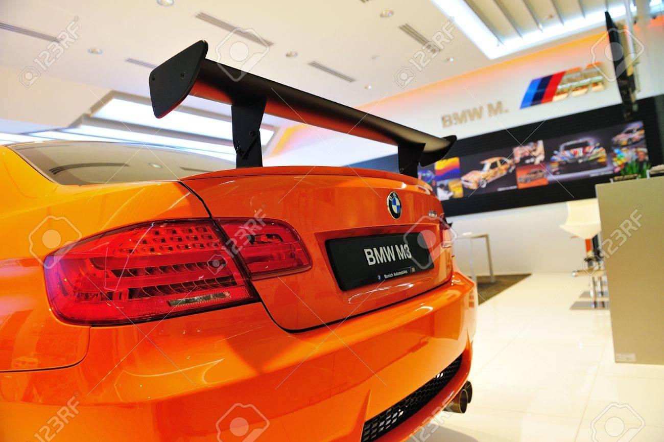 Static display of BMW M3 GTS sports coupe at Munich Automobiles BMW Service Centre Open House on May 21, 2011 in Singapore Stock Photo - 13266455