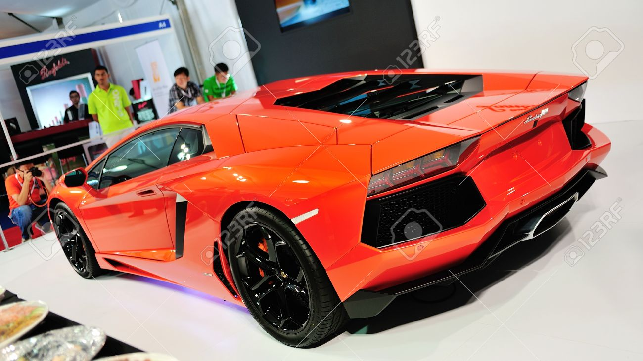 Rear View Of Lamborghini Aventador Lp 700 4 With Exhaust And Stock