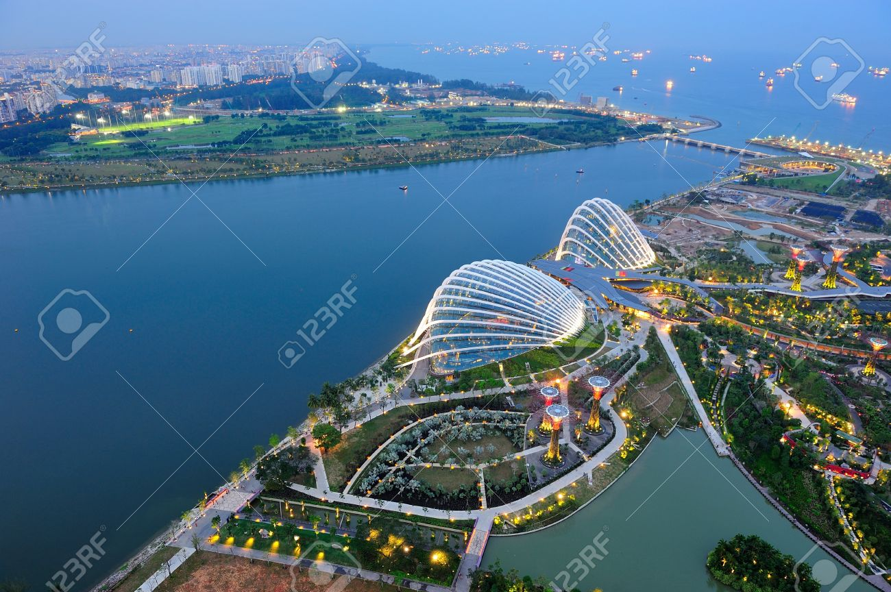 Aerial View Of Gardens By The Bay Conservatories Marina Bay