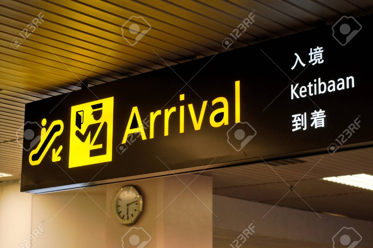 Illuminated Arrival Sign In Airport Terminal In Four Languages Stock Photo Picture And Royalty Free Image Image 16821092