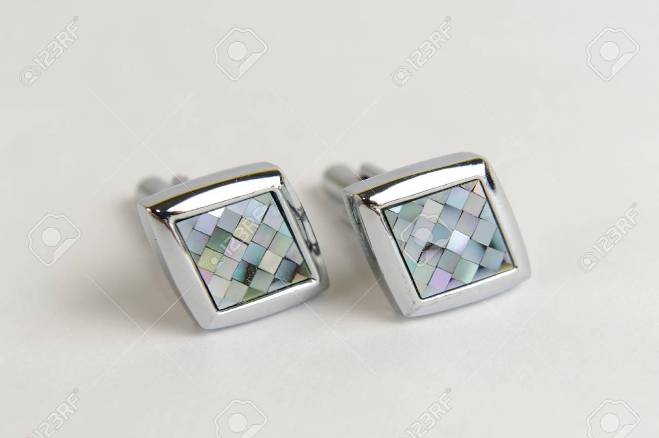 Diamond shaped stainless steel men cuff links Stock Photo - 16896798