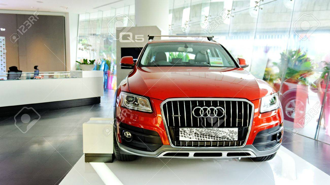 New audi q5 luxury crossover suv on display at the opening of the new audi centre