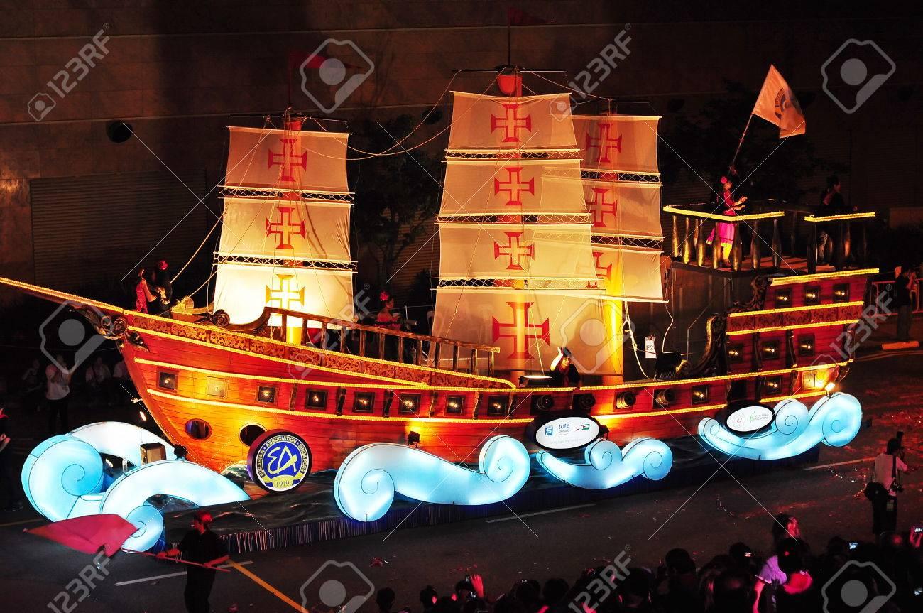 Singapur 31 De Enero Float En Forma De Barco En El Desfile 2009