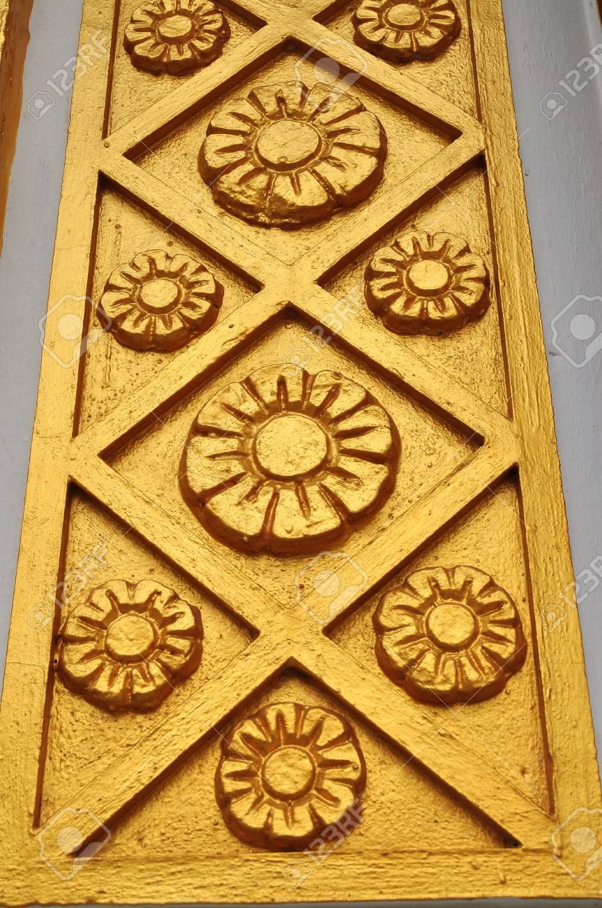 Golden Circular And Cross Patterns On The Wall Stock Photo, Picture ...