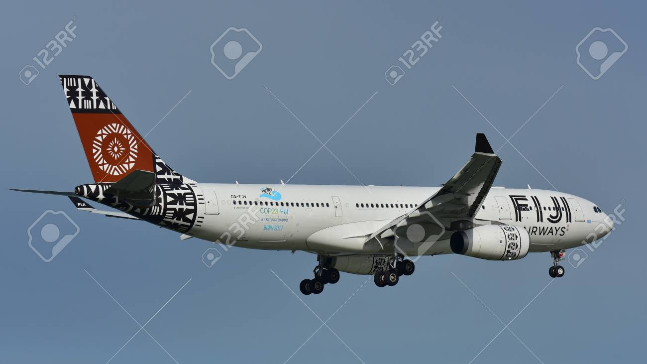 AUCKLAND, NEW ZEALAND - JULY 10: Fiji Airways Airbus A330 landing