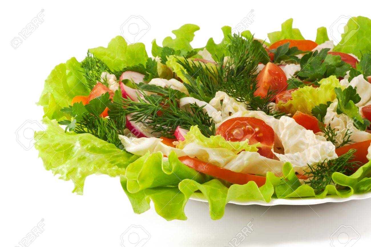Healthy Vegetable Salad With Lettuce Orange Pepper Tomatoes And Radish Stock Photo 9590488