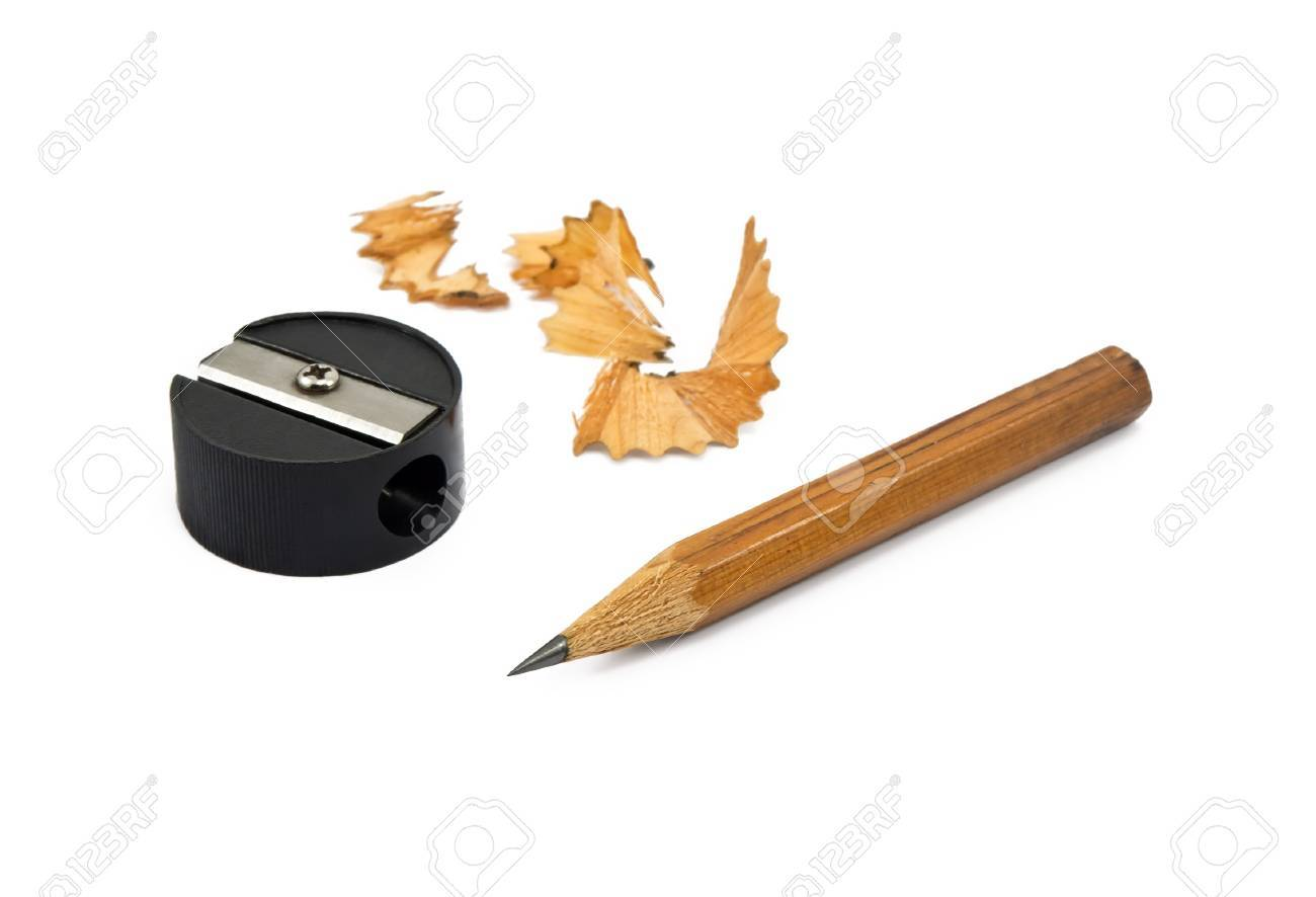 sharpened pencil and wood shavings on white stock photo picture and