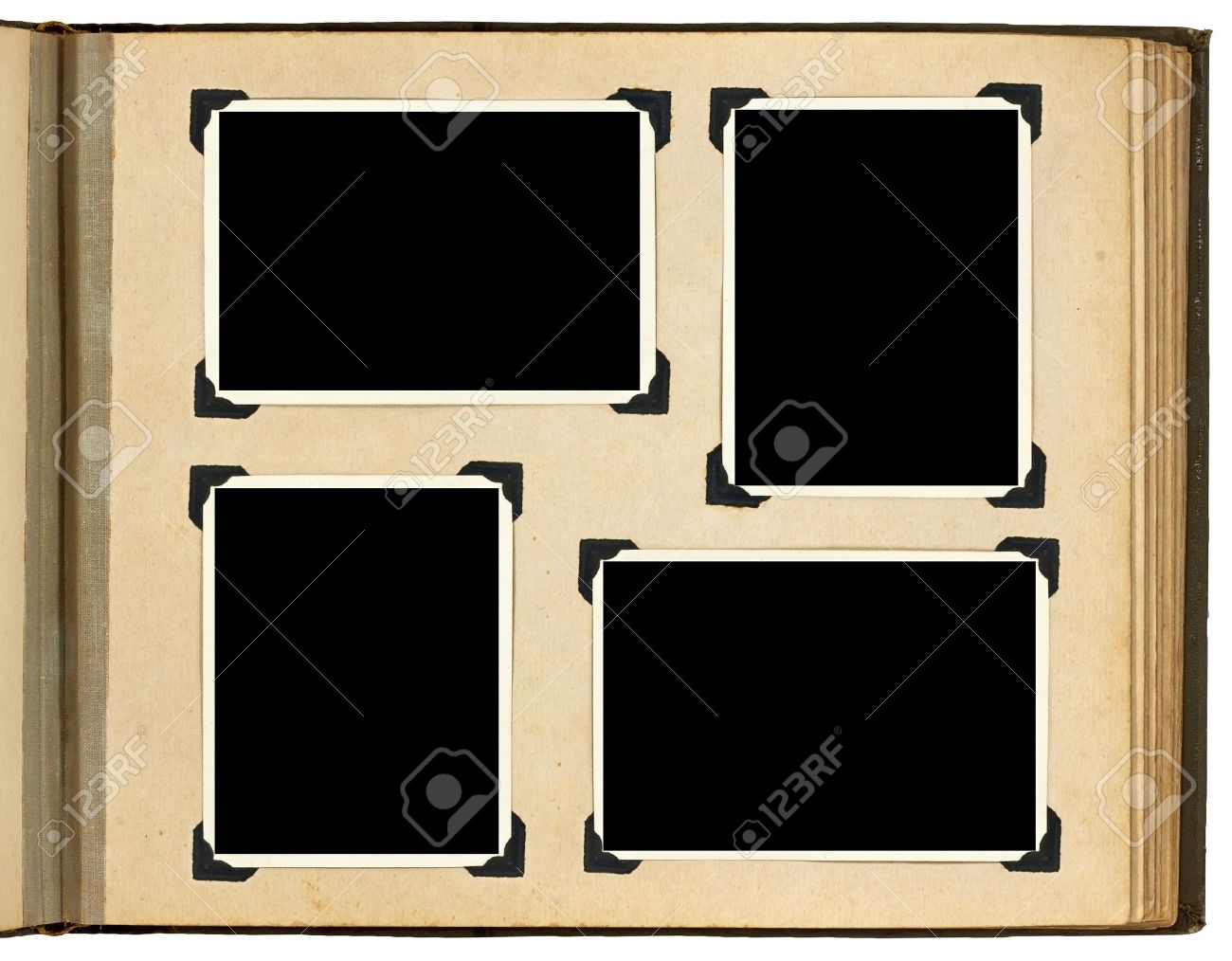 Page of vintage photo album, with photo frames Stock Photo - 12537993