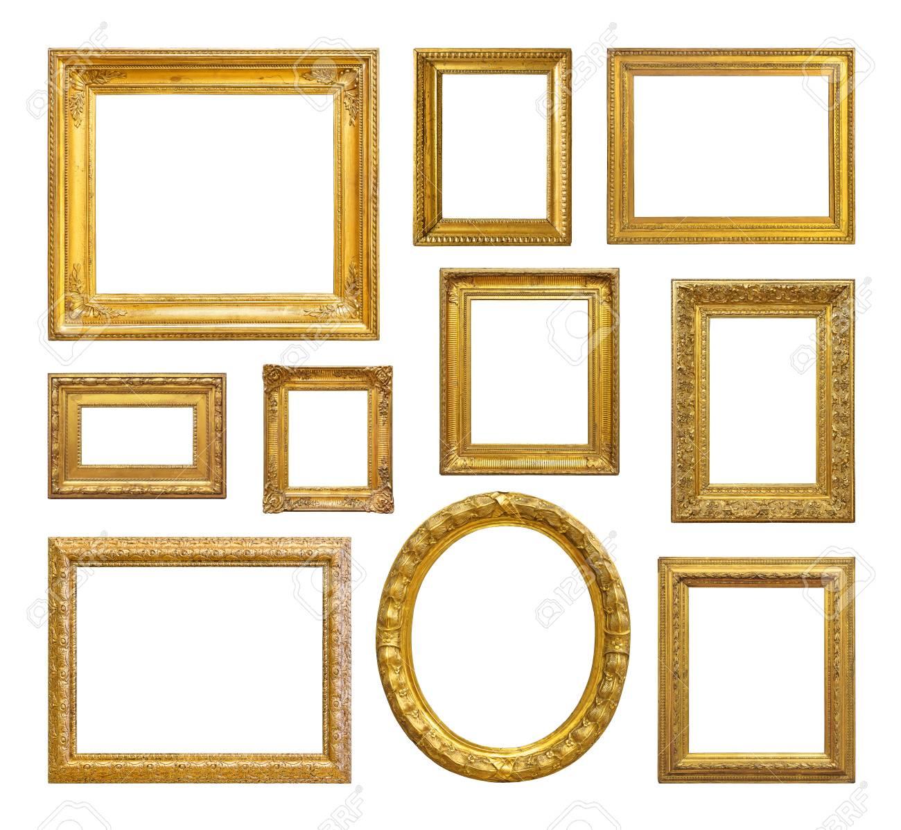 Set of golden vintage frame on white background - 40047528