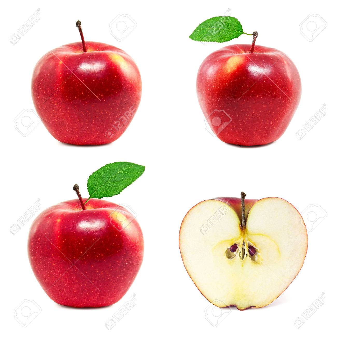 Set of red apples on a white background - 41758578