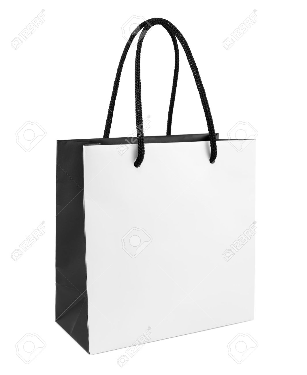 white and black paper shopping bag isolated stock photo picture and