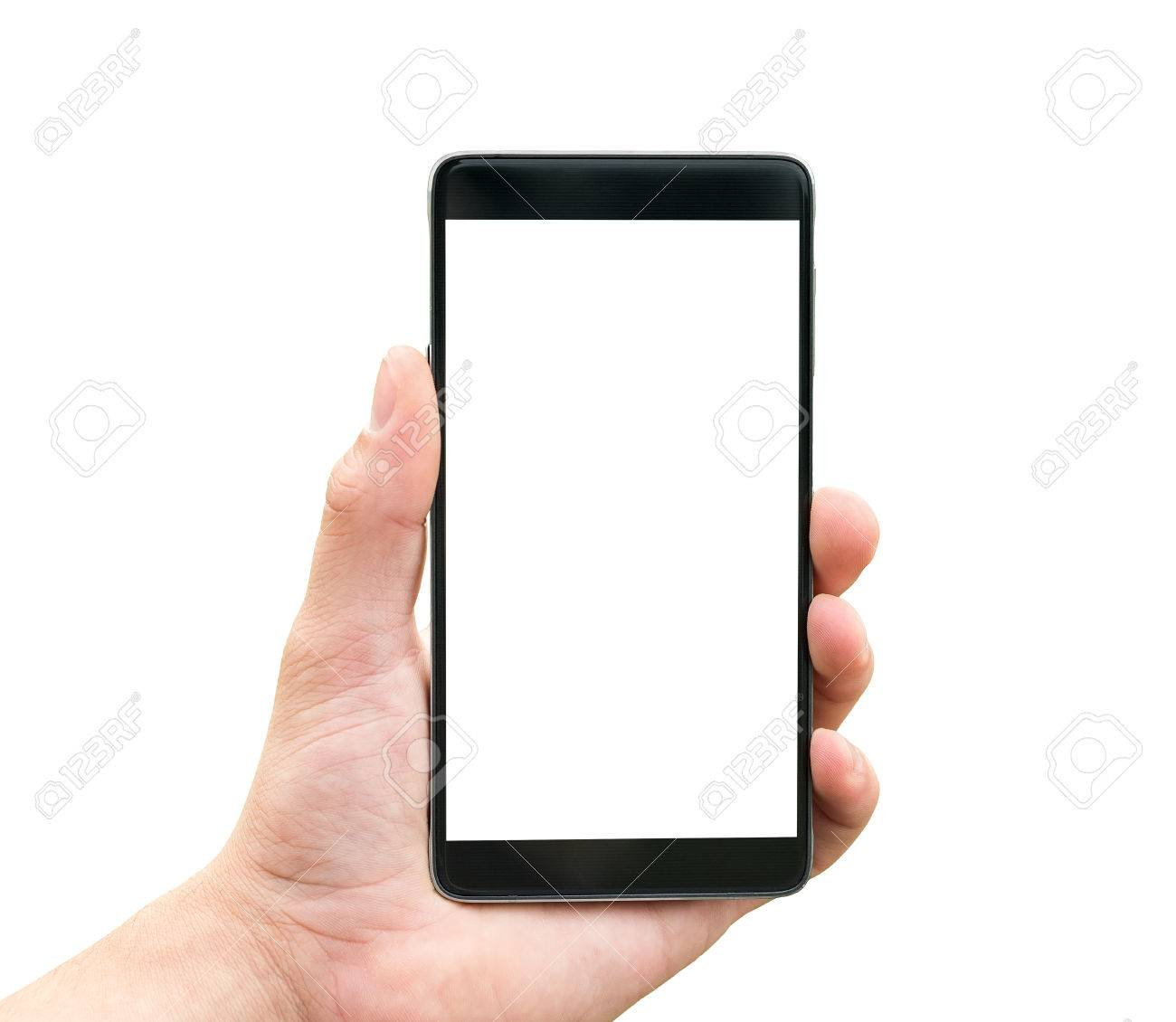 Hand holding mobile smart phone isolated on white background - 45009463