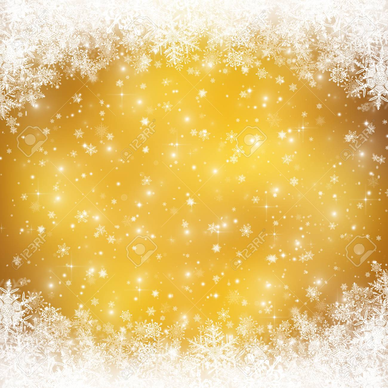 Decorative christmas background with bokeh lights and snowflakes - 48326534