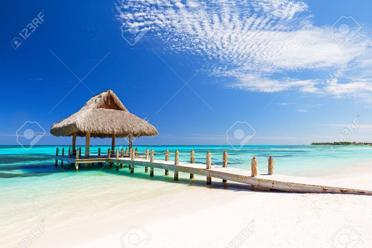 Beautiful tropical white sandy beach in Cap Cana, Dominican Republic - 58556877